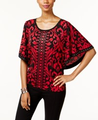 Jm Collection Butterfly Sleeve Scroll Print Top Only At Macy's Red Grand Scroll