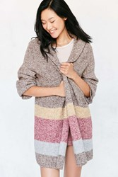Silence And Noise Hooded Open Cardigan Sweater Light Brown