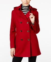 Nautica Wool Blend Hooded Peacoat Red