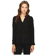 Heather Long Sleeve Silk Collared Blouse Black Women's Clothing