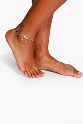 Boohoo Double Layered Star And Bar Anklet Silver