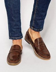 Asos Loafers In Leather Tan