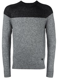 Armani Jeans Colour Block Jumper Grey
