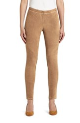 Lafayette 148 New York Women's 'Magic Stretch' Suede Skinny Pants Teak