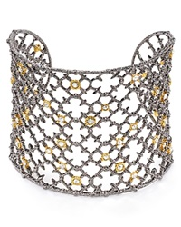Alexis Bittar Elements Crystal Studded Spur Lace Cuff Ruthenium Gold