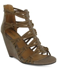Mia Dylon Wedge Sandals Women's Shoes Taupe