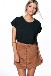 Boohoo Button Front Jumbo Cord Mini Skirt Camel