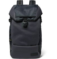 Eastpak Bust Merge Lab 2 Leather Trimmed Canvas And Mesh Backpack Black