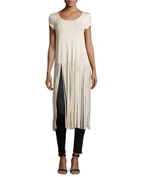 Romeo And Juliet Couture Fringe Trim Side Slit Tee Sand