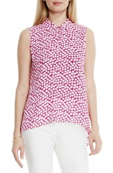 Women's Vince Camuto Print Collared Keyhole Neck Sleeveless Blouse