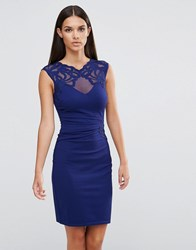 Lipsy Applique Side Ruched Bodycon Dress Navy