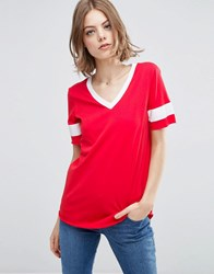 Asos Longline T Shirt With V Neck And Grosgrain Insert Red