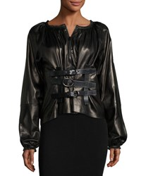 Tom Ford Leather Blouson Sleeve Top Black