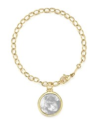 Monica Rich Kosann 18K Yellow Gold Oval Chain Hammered Charm Bracelet