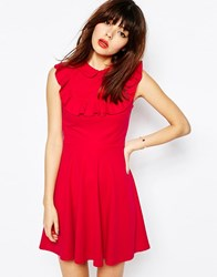 Asos Skater Dress In Ponte With Collar And Ruffle Detail Red