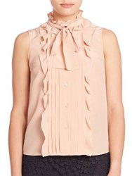 Red Valentino Silk Ruffle Button Front Blouse Nude