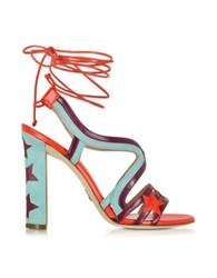 Paula Cademartori Starry Red And Turquoise Leather And Suede Sandal Multicolor