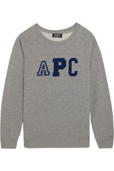 A.P.C. Atelier De Production Et De Creation Schoolgirl Flocked Cotton Blend Fleece Sweatshirt Gray