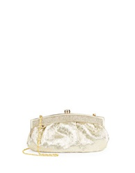 Carlo Fellini Push Lock Swirl Frame Clutch Gold