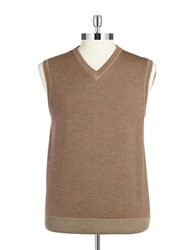 Black Brown Merino Wool Herringbone Vest Beige