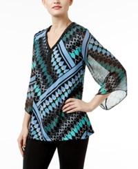 Jm Collection Printed Chiffon Sleeve Tunic Only At Macy's Twisted Argyle