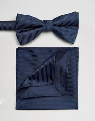 Selected Homme Tie And Pocket Square Set Navy