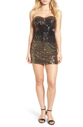 Steppin Out Women's Strapless Sequin Body Con Dress Black Gold Ombre