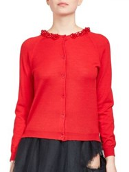 Simone Rocha Wool Cardigan Sweater Red