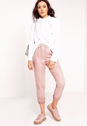 Missguided Faux Suede Joggers Dusky Pink Pink