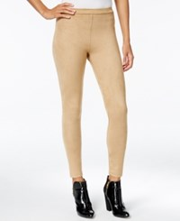 Kensie Faux Suede Leggings Dark Tan