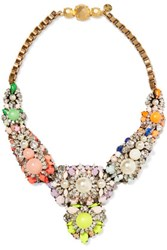 Shourouk Apolonia Gold Tone Faux Pearl Crystal And Stone Necklace Multi