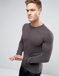 Asos Muscle Fit Cotton Crew Neck Jumper In Slate Brown