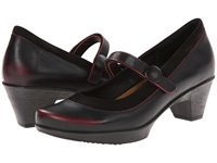 Naot Footwear Latest Volcanic Red Leather Black Velvet Nubuck Women's Flat Shoes