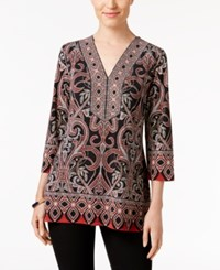 Jm Collection Petites Petite Printed Beaded Tunic Only At Macy's Red Paisley