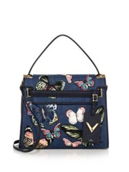 Valentino Butterfly Embroidered Denim And Leather Satchel