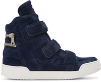 Balmain Navy Suede Velcro High Top Sneakers