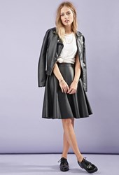 Forever 21 Faux Leather A Line Skirt Black
