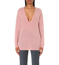 Theory Adrianna V Neck Cashmere Jumper Dusty Willow