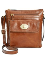 Giani Bernini Glazed Turnlock Crossbody Only At Macy's Tobacco