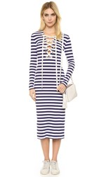 House Of Holland Striped Front Lacing Dress Navy