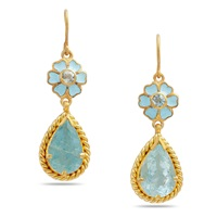 Emma Chapman Jewels Alyce Aquamarine Enamel Flower Earrings Blue