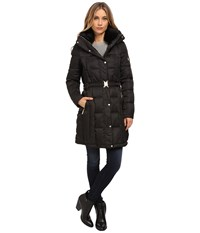 Vince Camuto Belted Down With Faux Fur Trim Collar J8601 Black Women's Clothing