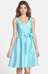 Women's Alfred Sung Satin Fit And Flare Dress Coastal