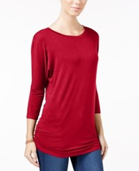 Planet Gold Juniors' Ruched Dolman Sleeve Top Chili Pepper