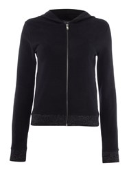 Armani Jeans Zip Up Hoodie With Lurex Hem Black
