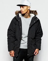 Supreme Being Supremebeing Parka Jacket With Faux Fur Hood Black