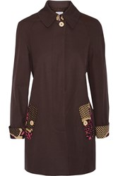 Moschino Cheap And Chic Print Trimmed Cotton Jacket Brown