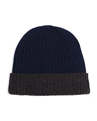 The Men's Store At Bloomingdale's Reversible Cashmere Beanie Navy Charcoal