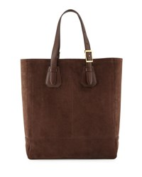 Tom Ford Men's Suede Tote Bag Chocolate
