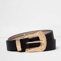 River Island Womens Black Gold Buckle Western Belt
